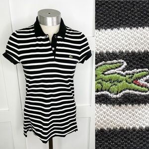 Lacoste Two Button Striped Polo Shirt Short Sleeve
